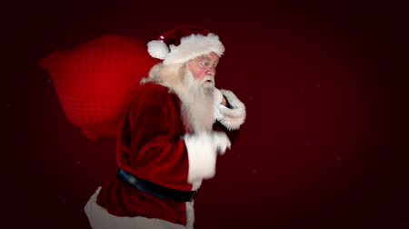 santa : Digital animation of Santa delivering presents with christmas message