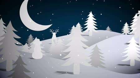 pré natal : Digital animation of Cut out fir tree forest and flying santa