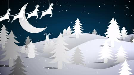 santa : Digital animation of Cut out fir tree forest and flying santa with greeting