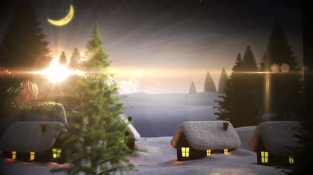 pré natal : Digital animation of Magic light swirling around christmas tree in village