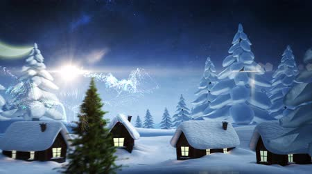 pré natal : Digital animation of Magic light swirling around christmas tree with greeting