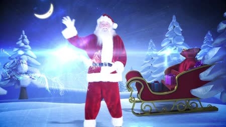 pré natal : Digital animation of Santa and his sled with magical christmas greeting