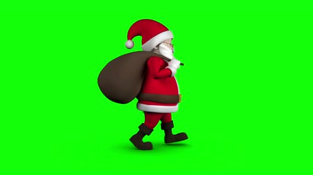 santa : Digital animation of Cartoon Santa walking on green background