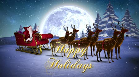 santa : Digital animation of Santa waving in his sleigh with reindeer and greeting