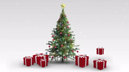 fitas : Digital animation of Christmas presents appearing around tree Vídeos