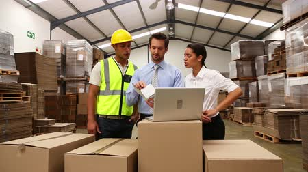 munkás : Warehouse managers and worker looking at laptop in a large warehouse