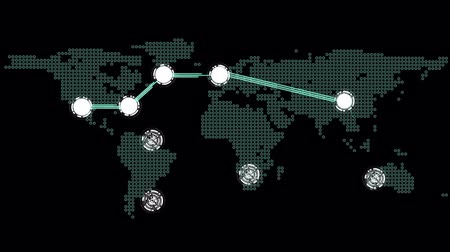 sociedade : Digital animation of Global connections theme in green and black