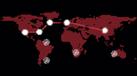 цепь : Digital animation of Global connections theme in red and black Стоковые видеозаписи