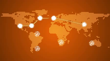 vincular : Digital animation of Global connections theme in orange