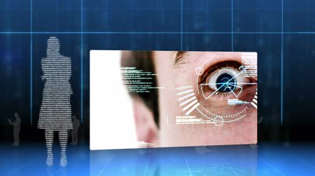 идентификация : Screens showing eye and hand identification on futuristic interface with matrix on the background
