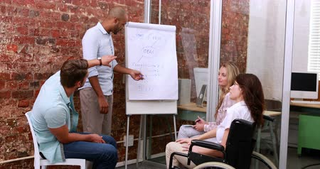 paraplegic : Casual business team having a meeting in the office Stock Footage