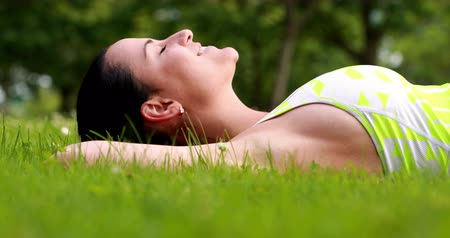çim : Pretty brunette lying down on the grass on a sunny day