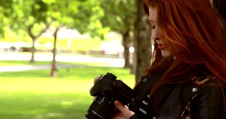 vöröshajú : Pretty redhead taking a photo in the park on a sunny day
