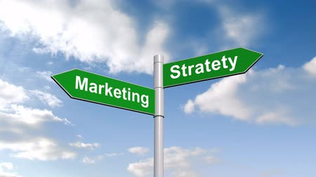 marketing : Digital animation of Marketing strategy signpost against blue sky Stock Footage