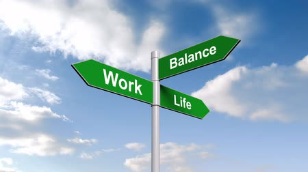 жизнь : Digital animation of Work life balance signpost against blue sky Стоковые видеозаписи