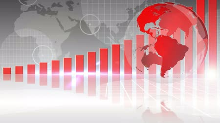 fejlesztése : Digital animation of Red bar chart showing growth with globe
