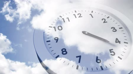 zegar : Digital animation of Clock ticking against blue sky