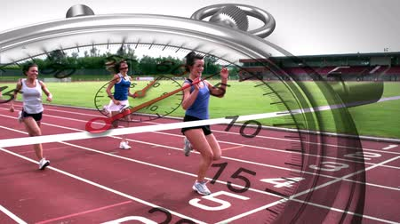 sampiyonlar : Digital animation of Stopwatch graphic over race winner in slow motion