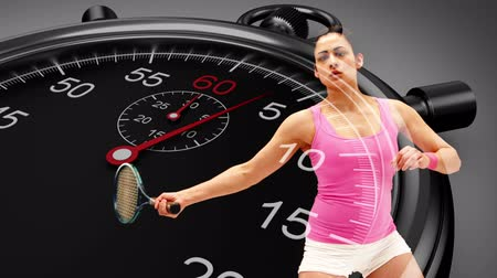 ракетка : Digital animation of Stopwatch graphic over basketball player in slow motion