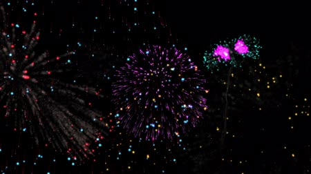 élénkség : Digital animation of Countdown to midnight with exploding fireworks