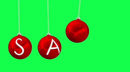 вешать : Digital animation of Hanging baubles spelling out sale