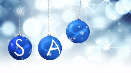 wyprzedaż : Digital animation of Hanging baubles spelling out sale