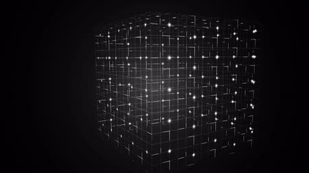 cubos : Digital animation of Grid moving on black background