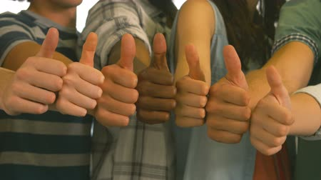 стоять : Students showing thumbs up together in high quality 4k format