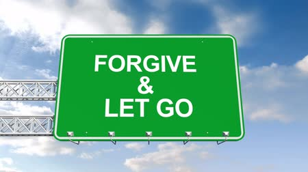 desistir : Digital animation of Forgive and let go sign against blue sky