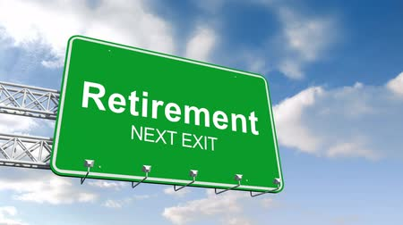 retirement : Digital animation of Retirement next exit sign against blue sky