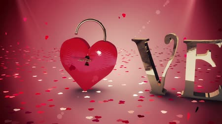 безопасный : Digital animation of Key opening a heart lock with golden love text Стоковые видеозаписи