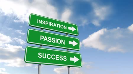 inspiração : Digital animation of Inspiration passion and success signs against blue sky Vídeos
