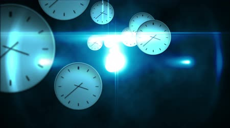 clock hands : Digital animation of Time passing concept with many clocks Stock Footage