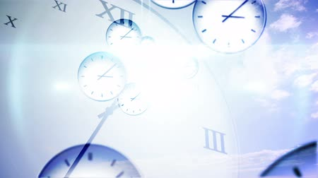 Digital animation of Time passing concept with many clocks Stock Footage