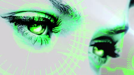 olhos verdes : Digital animation of Eyes scanning a futuristic interface
