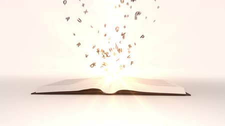 livros : Digital animation of Book opening to flying golden letters
