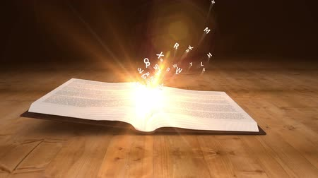 letras : Digital animation of Book opening to flying golden letters