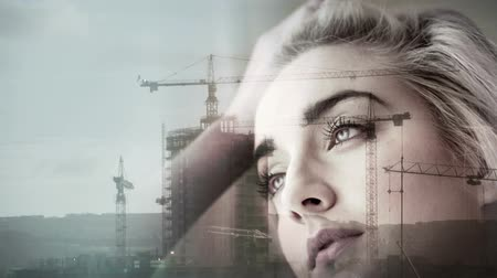 double happiness : Digitally generated Construction overlay on thinking girl