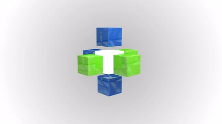 kocka : Digital animation of Blue and green abstract cube grid