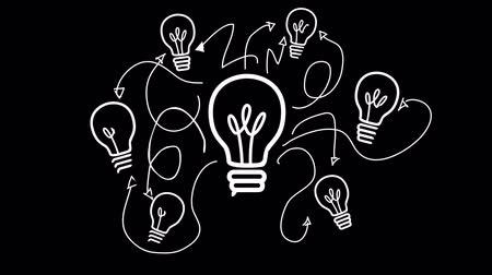 innovation : Digital animation of Light bulb appearing in black and white Stock Footage