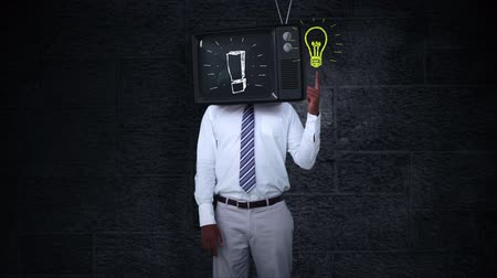 felkiáltás : Digital animation of Businessman with tv on his head