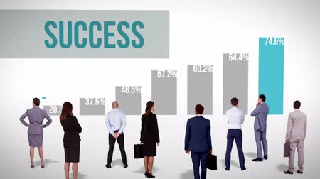 success : Digital animation of Business team watching success chart