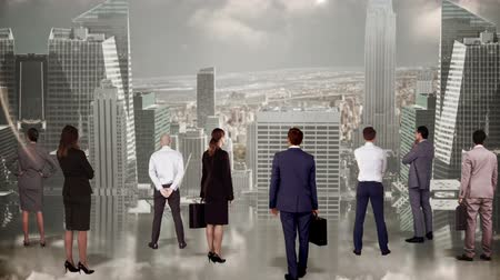 partnerstwo : Digital animation of Business team watching large cityscape