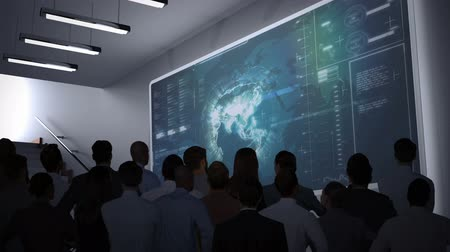 partnerstwo : Digital animation of Business people watching data interface on screen