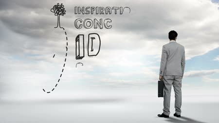concept : Digital animation of Businessman watching idea concept in the sky