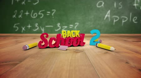reklama : Digital animation of Back to school graphic falling in classroom