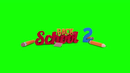 okula geri : Digital animation of Back to school graphic falling against green screen Stok Video
