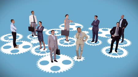 partnerstwo : Digital animation of Business people standing on moving cogs and wheels
