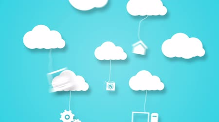 применения : Digital animation of Cloud computing concept with apps Стоковые видеозаписи