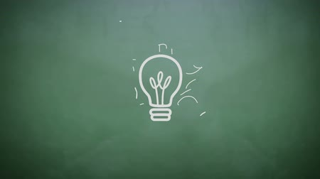 innovation : Digital animation of Light bulb appearing on chalkboard